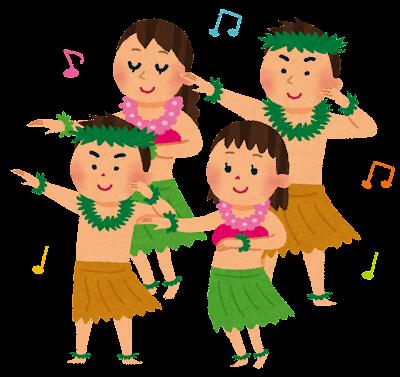 フラダンスのイラスト「家族でフラダンス」