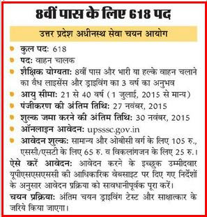 UPSSSC 618 Drivers/Bahan Chalak Recruitment Advertisement November 2015