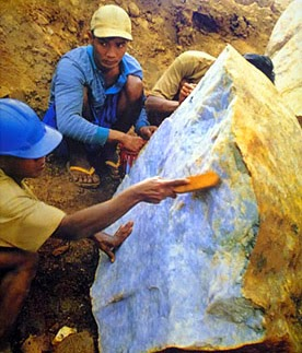 A lavender colored boulder extracted in Myanmar Kachin State