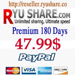 Buy Ryushare Premium 180 Days via Paypal