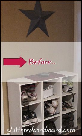 Cluttered Corkboard: Entryway Storage Solution.. (small entry)