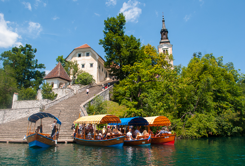 Bigger boats that were docked on the bled island in slovenia