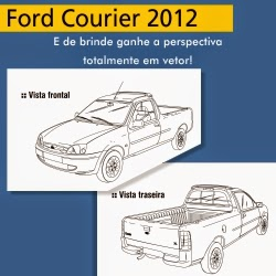 Ford Courier 2012 - perspectivas frontal e traseira