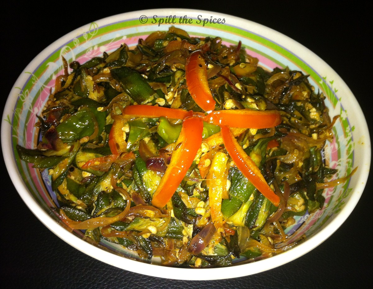 bhindi do pyaza or okra onion stir fry is okra sauteed with double ...