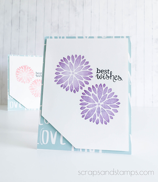 Best Wishes Floral cards by Nicole Picadura | Fanciful Florals Bold Flower Stamp set by Newton's Nook Designs
