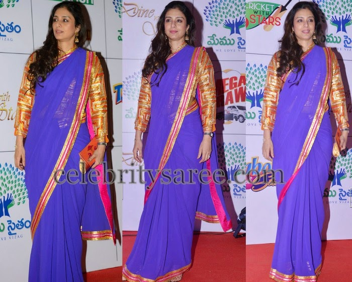 Tabu Purple Georgette Saree