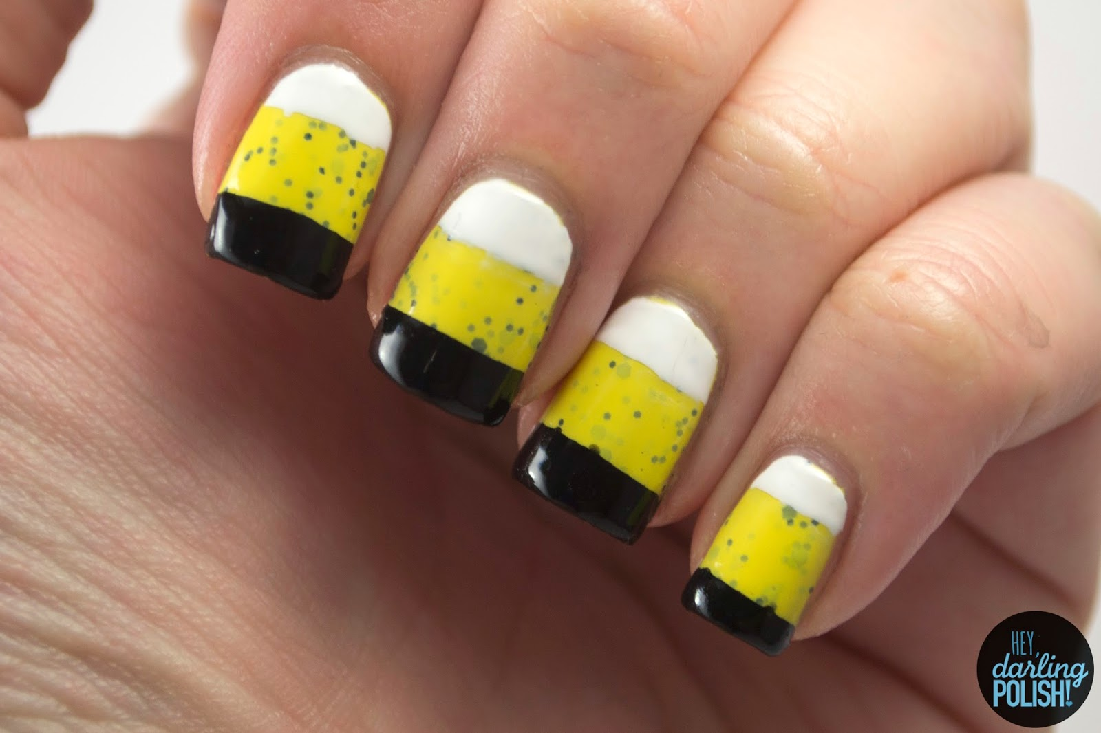 nails, nail art, nail polish, polish, yellow, black, white, glitter, indie, indie polish, indie nail polish, lucky 13 lacquer, the never ending pile challenge, hey darling polish