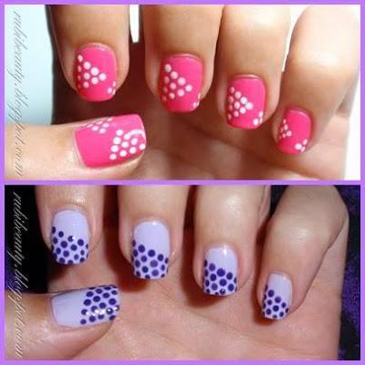 Decoración de uñas con puntos lindos y fáciles