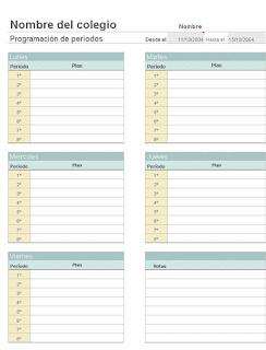 Planes de clases semanales para profesores