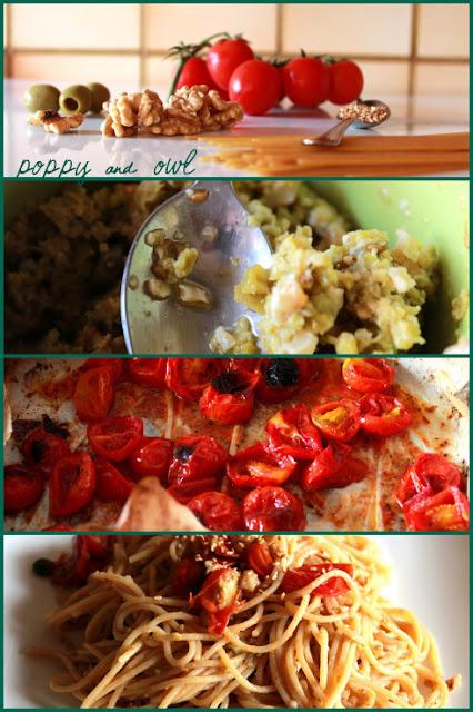 pasta pesto di olive pomodorini al forno