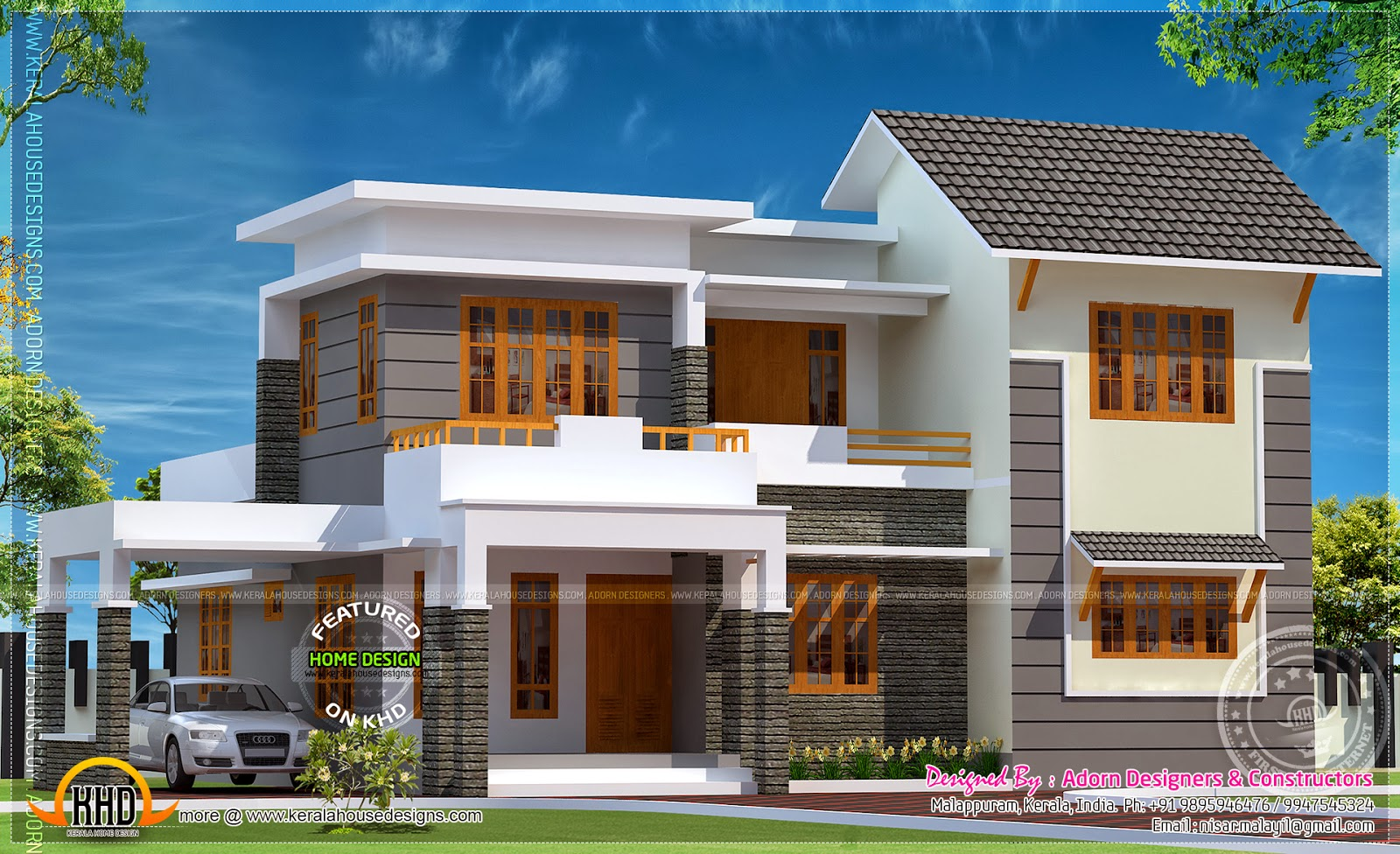 elegant home in 1850 square feet home kerala plans