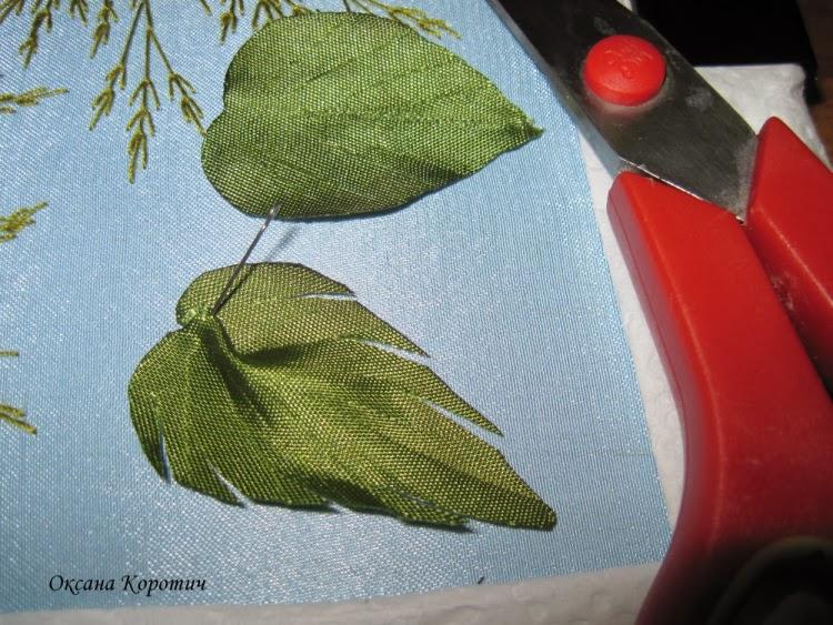 Вышивки лентами листьев