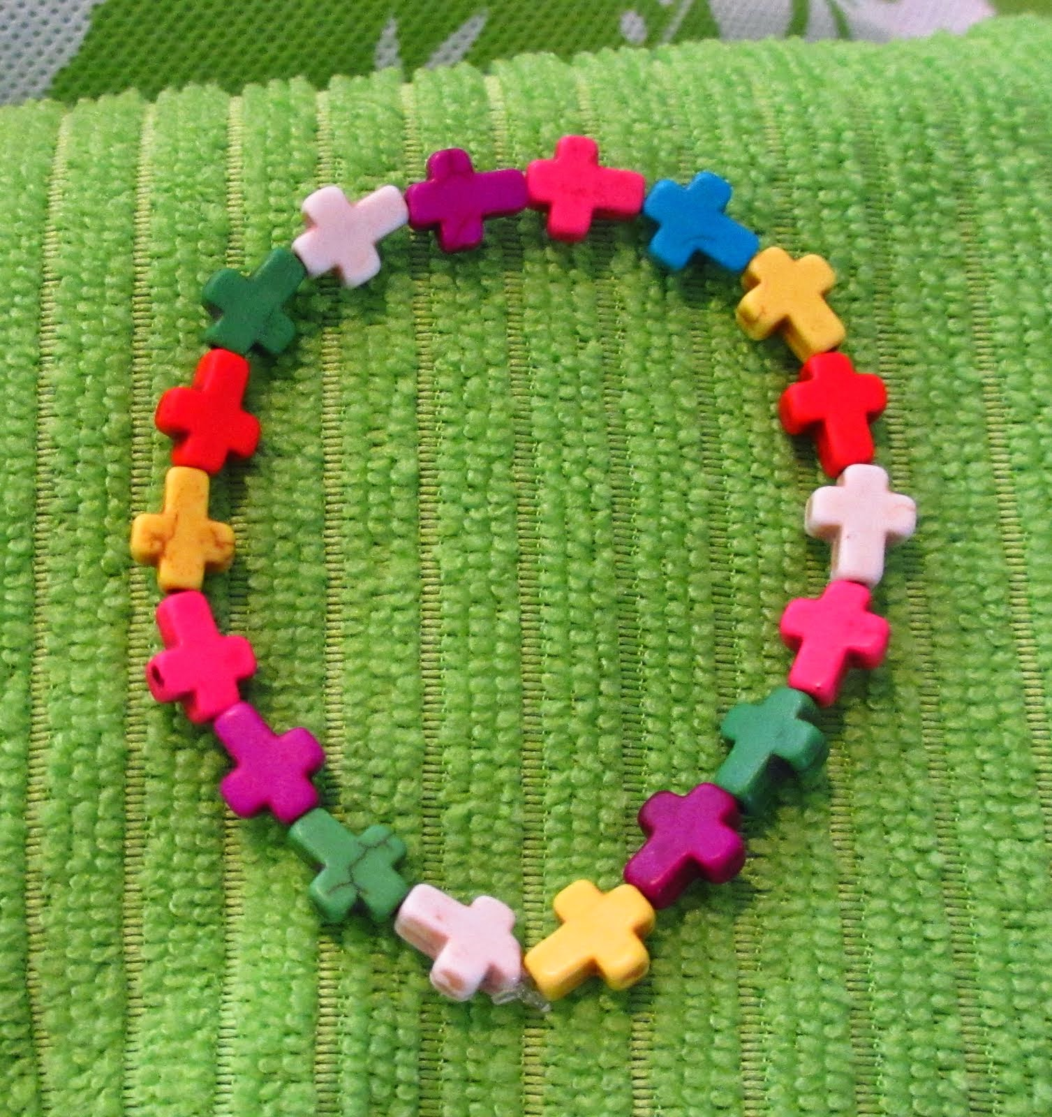 Multi-colored mini cross bracelet