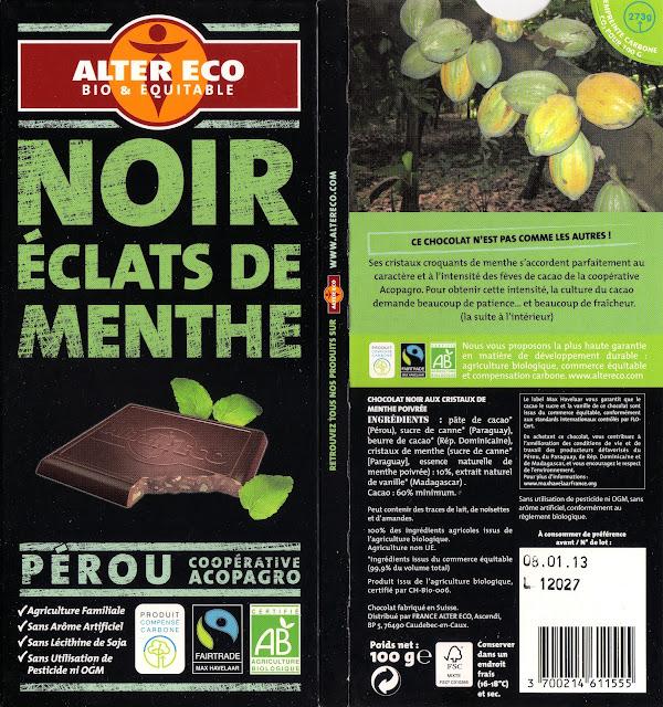 tablette de chocolat noir gourmand alter eco pérou noir eclats de menthe