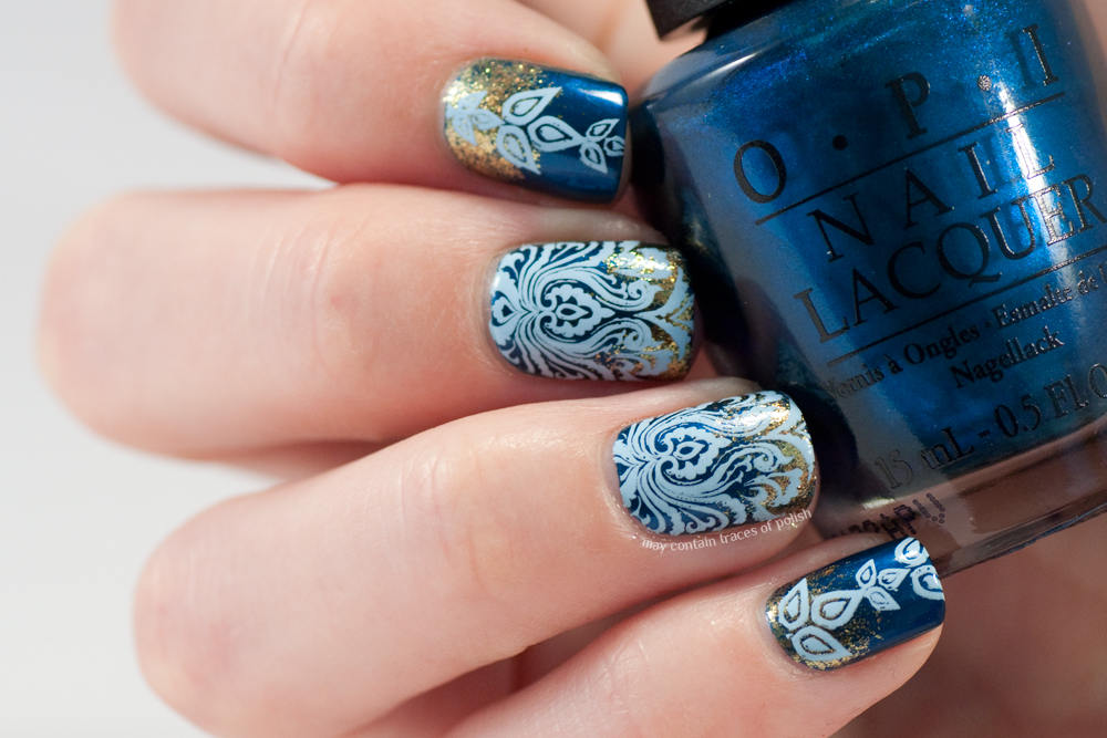 Blue Damask Nail Art May Contain Traces Of Polish