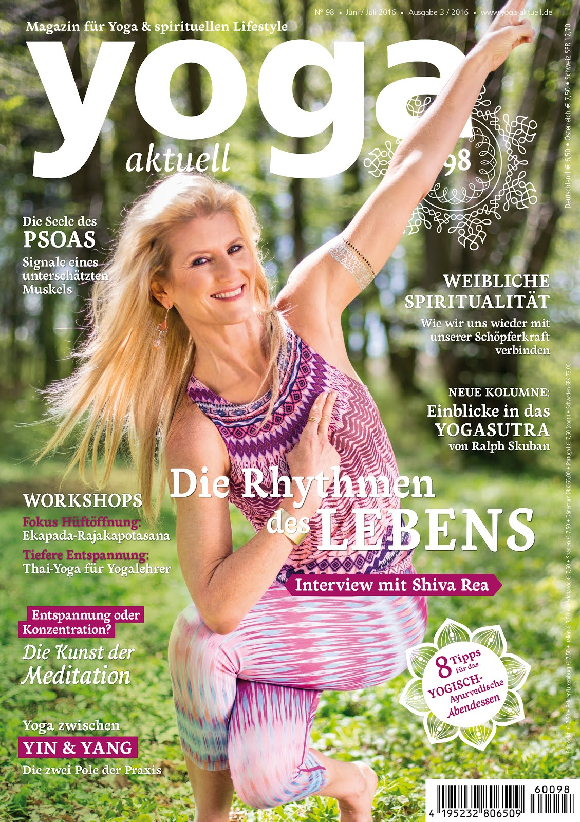 Read My Recent Articles<br>Die Seele das Psoas<br>Yoga Aktuell 98<br>June-July 2016