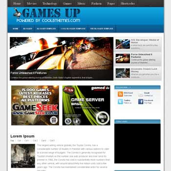 Games UP blogger template. template blogspot free
