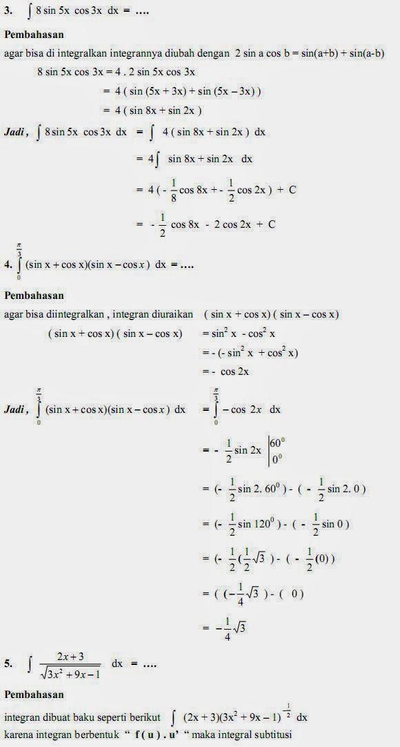 Matematika Di Sma Soal Dan Pembahasan Ujian Matematika Bab Integral Paket A
