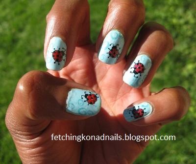 ladybug nails fetching konad