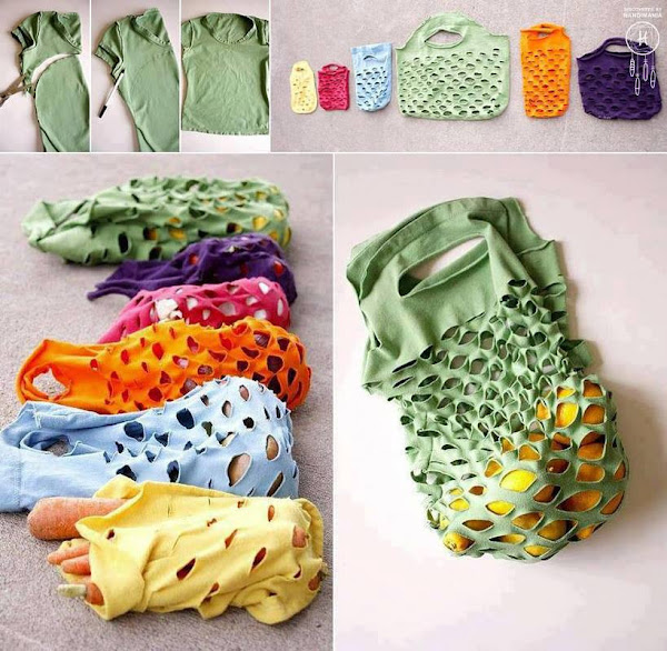 Make reusable produce bags from old t-shirts