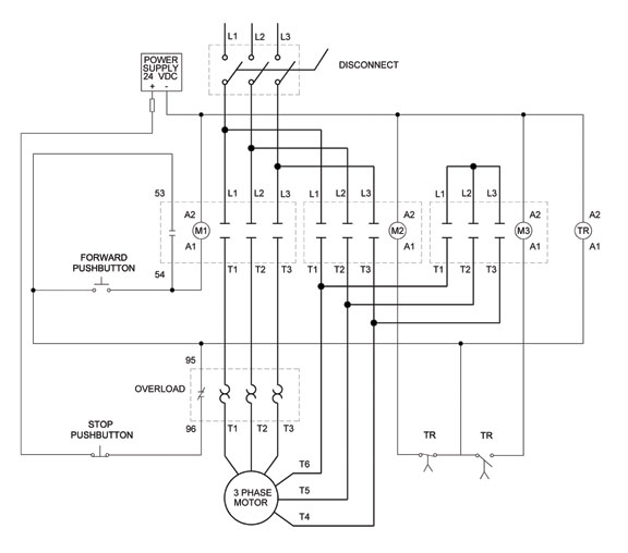 3 Phase Motor Control Of A Delta Star Connection Elec