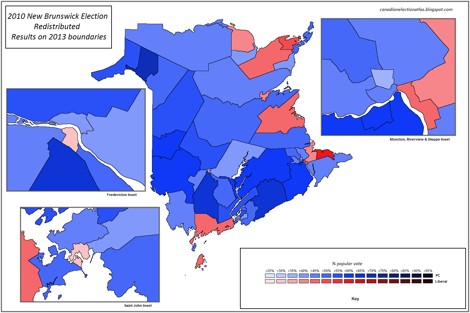 Canadian Election Atlas: New Brunswick provincial redistribution and transposition