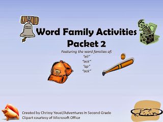 http://www.teacherspayteachers.com/Product/Word-Family-Packet-2-Featuring-ell-ap-at-ack-967563