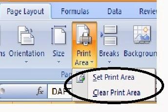 pengaturan print area