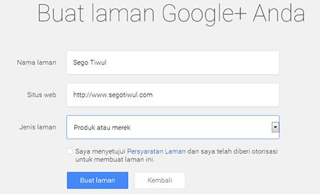 Membuat Google Fans Page Google+ 4