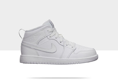 Air Jordan 1 Mid (10.5c-3y) Pre-School Boys' Shoe White/White-Cool Grey, Style - Color # 554726-100