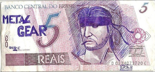 brazilian 5 Reais paper money with the effigy of republic redraw as snake metal gear 5