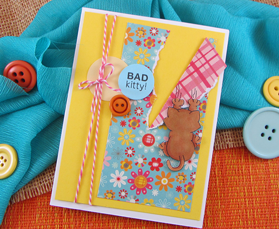 Bad Kitty Card by Jennifer Jackson using Naughty Newton Stamp set by Newton's Nook Designs