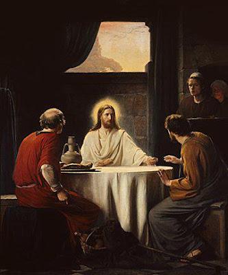 Jesús resucitado come con los apóstoles