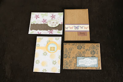 handstamped cards brown white aqua navy blue by HandiworkinGirls