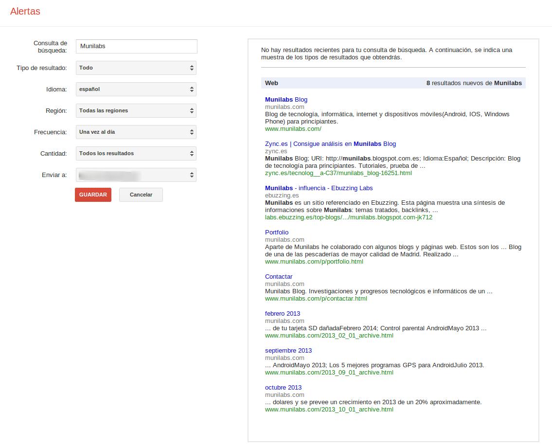Configuración Alerta para una web