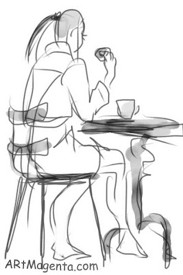 Losing weight without starving is a gesture drawing by artist an illustrator Artmagenta done on an iphone.