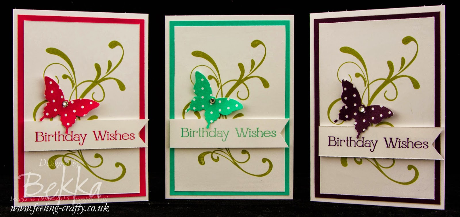 One Birthday Card Three Colour Ways using In Colors from Stampin' Up! UK - Get them here