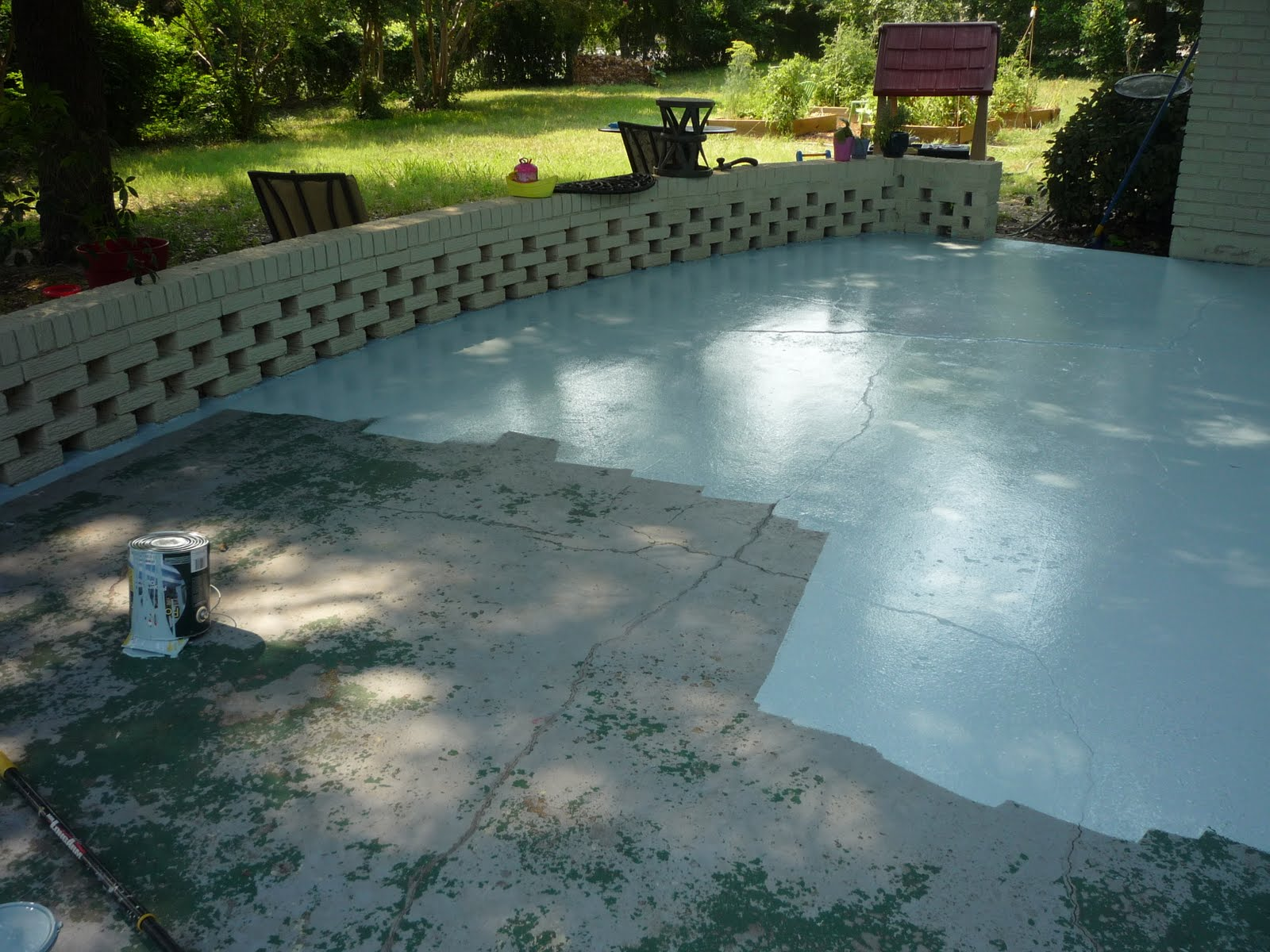Blue Sky Pie Our Concrete Patio from filthy to tolerable for