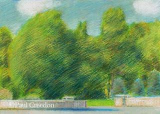 Pastel of an abstract scene of trees and a stone wall