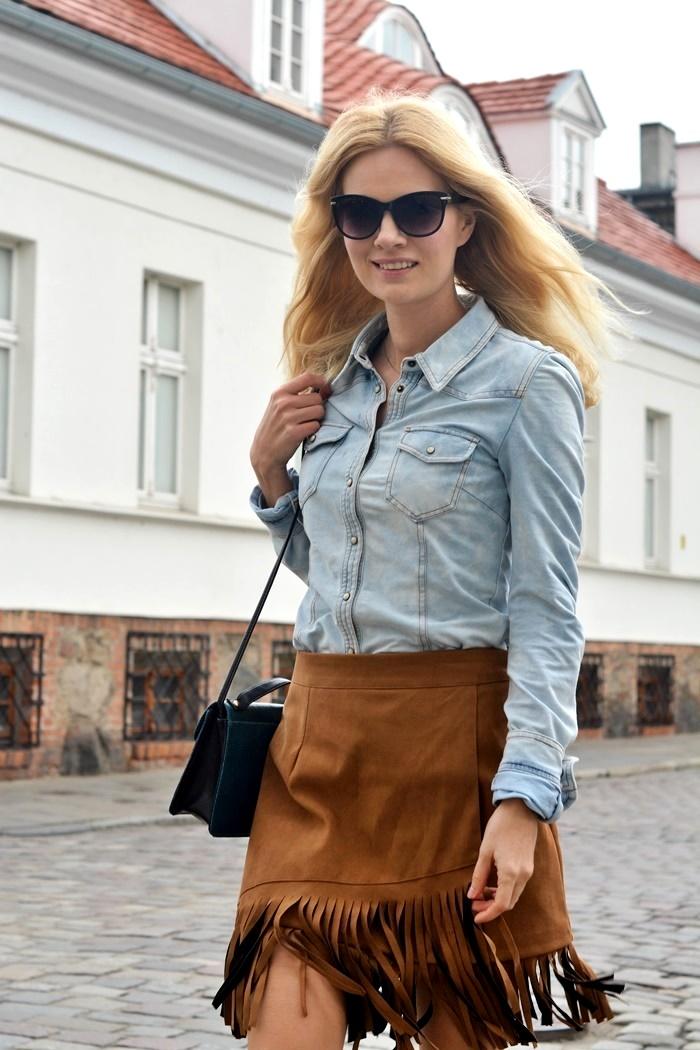 frędzle, blog, spódniczka, trend, 2015, jeansowa, koszula, poznań