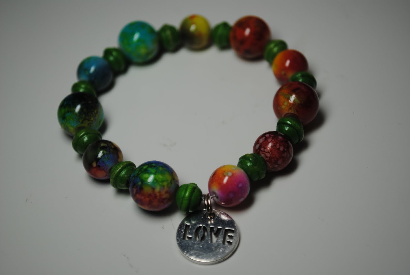 Around the World Bracelet with Love Charm - Rainbow/Green $12