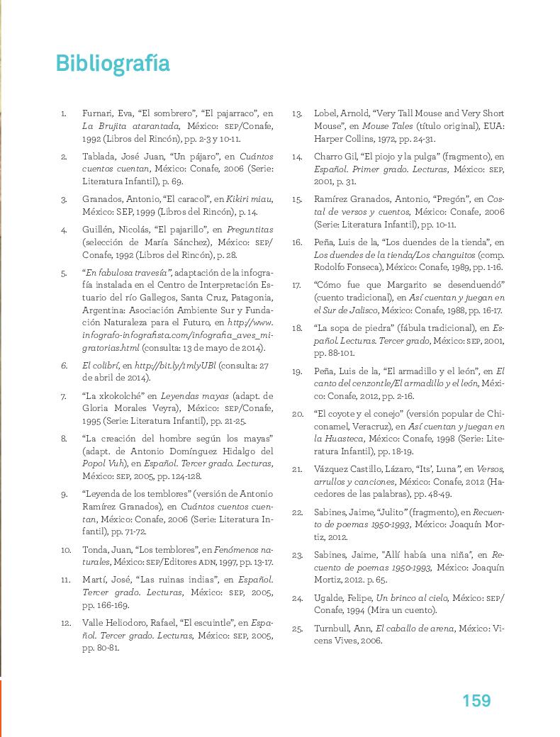 Bibiografía - Español Lecturas 3ro 2014-2015