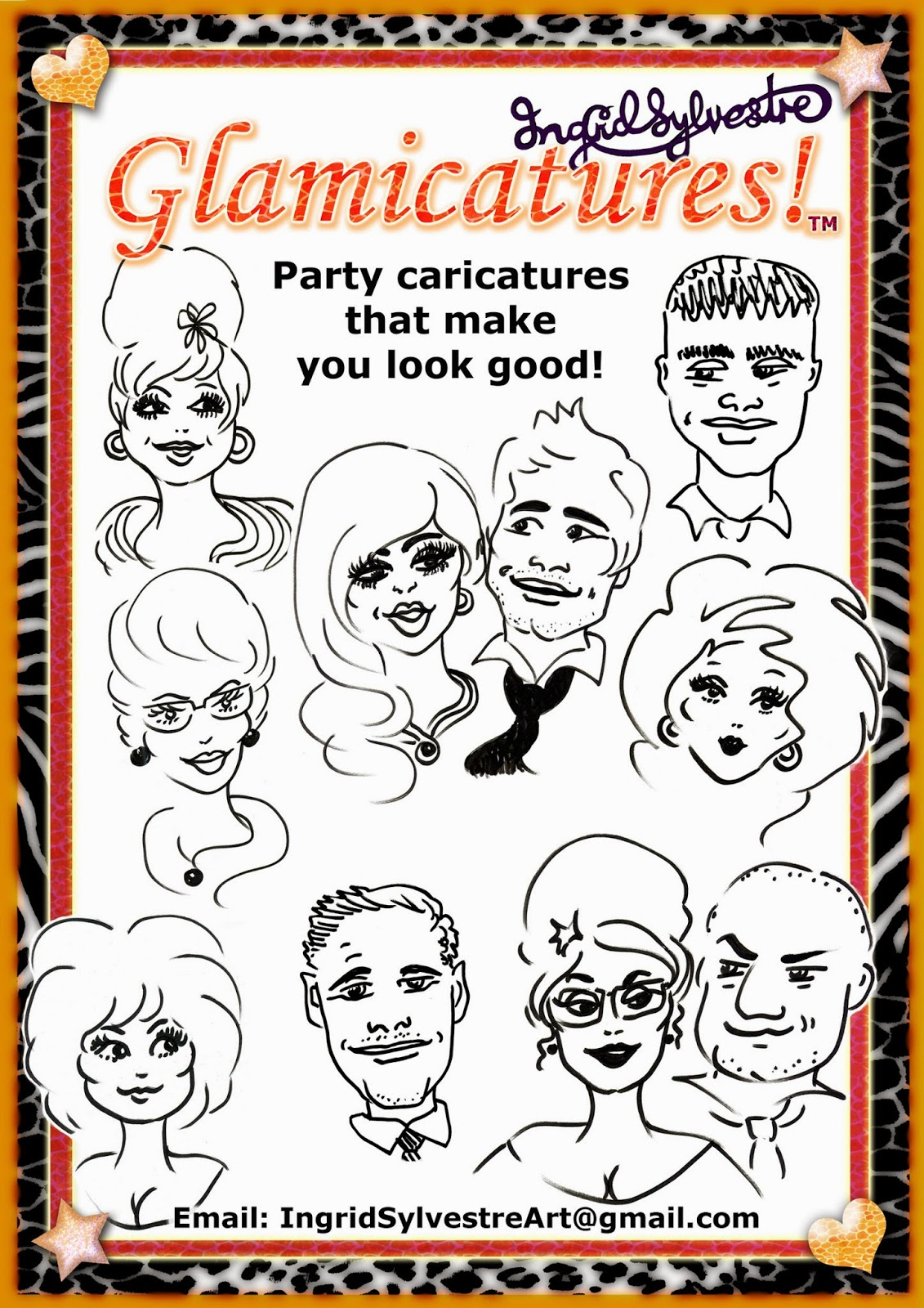 Fun Wedding ideas. Wedding Day Entertainment Ideas. Unique ideas for Wedding Reception Entertainment. Great ideas for unusual wedding day entertainment. Wedding event ideas for entertainment during reception. Unusual interesting fun Wedding planning ideas.  Glamicatures TM caricatures by UK caricature artist Ingrid Sylvestre, for weddings, parties, proms, launches, corporate events.