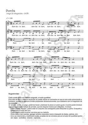 Dumba Partitura para Cuartetos, a cuatro voces o cuerdas por Gabriela Carel String Quartet Voice Sheet Music