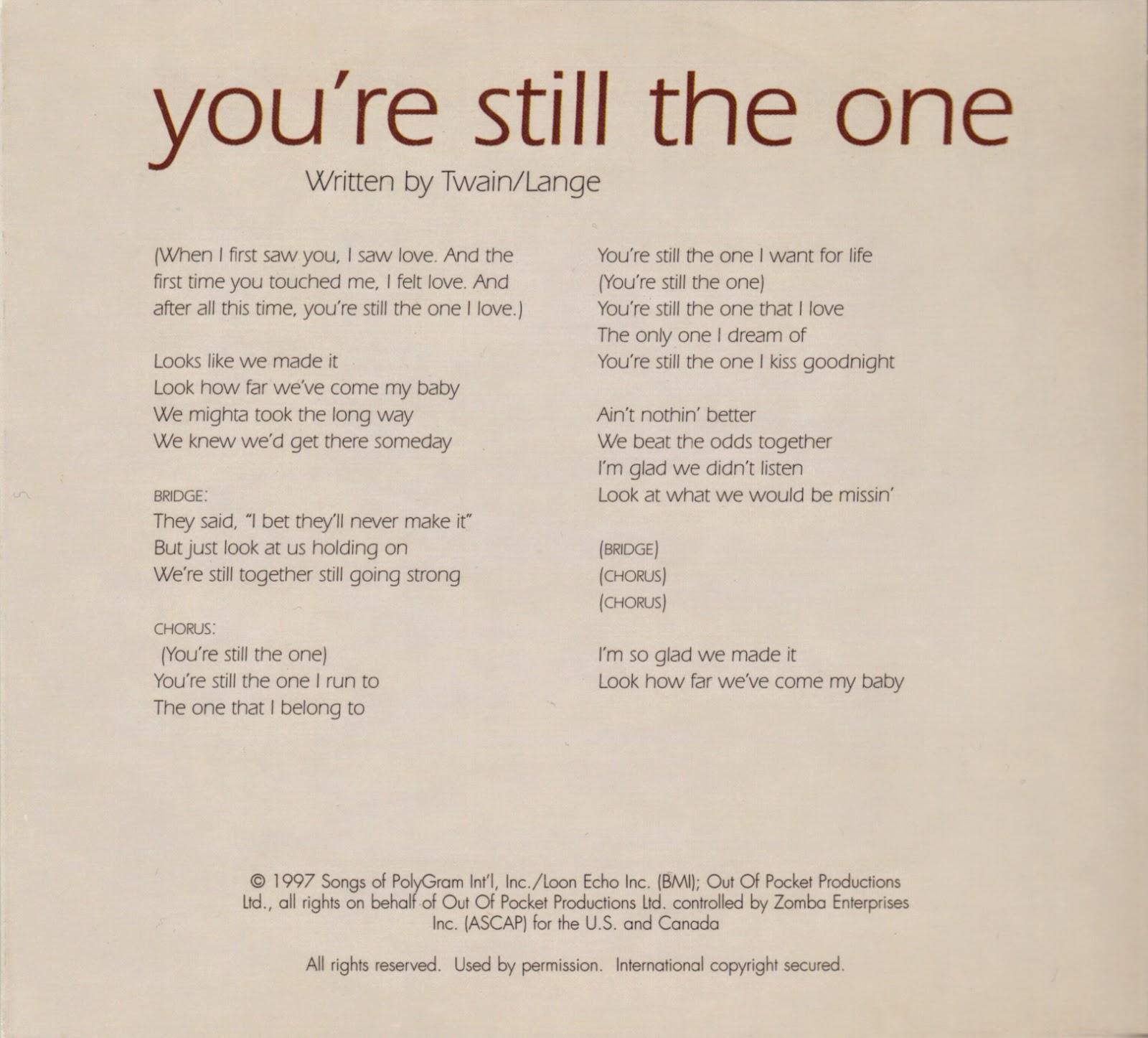 You're Still the One - Shania Twain (Lyrics) - YouTube