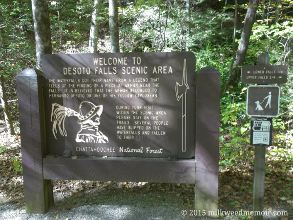 Informational sign saying Desoto Falls was name so for a legendary find of Spanish armor at the falls, believed to belong to Hernando De Soto's expedition