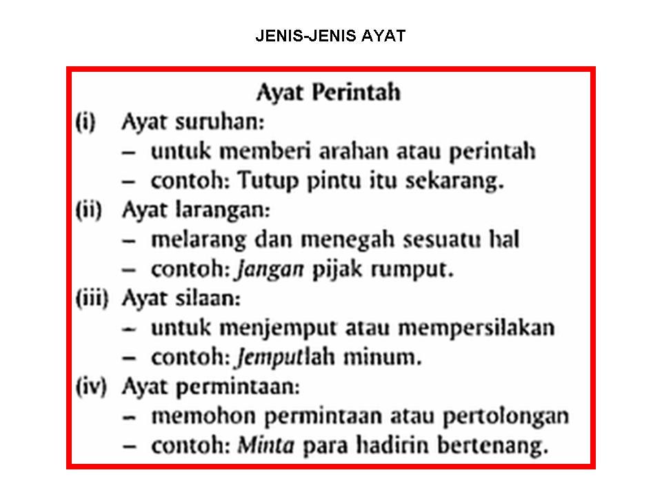 Bahasa Melayu Tingkatan Jenis Ayat