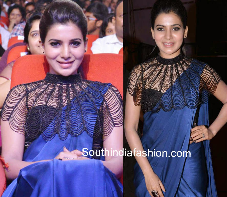 samantha at rabhasa music launch blue saree