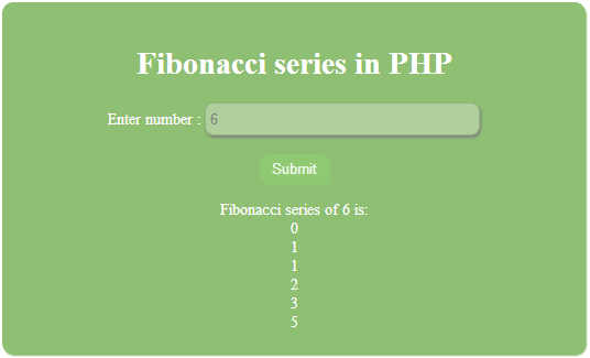 Simple Fibonacci series program in PHP
