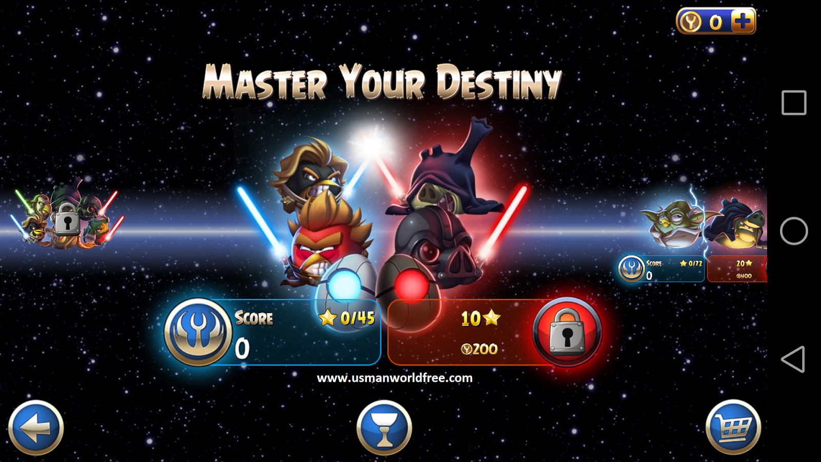 Features of Angry Birds Star Wars